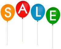 Sprzedaży przyjęcia balony odizolowywający nad białym tłem Zdjęcie Royalty Free