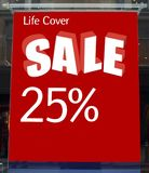 sprzedaży różowy kolor żółty Życie sprzedaży Okładkowy znak Życie okładkowa sprzedaż 25% daleko Fotografia Stock
