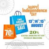Sprzedaży reklama dla 15th Sierpniowego Szczęśliwego dnia niepodległości India i promocja Obrazy Stock