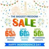 Sprzedaży reklama dla 15th Sierpniowego Szczęśliwego dnia niepodległości India i promocja Obrazy Royalty Free