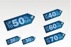 Sprzedaży savings etykietki ustawiać Cajgi Wektorowy illustraton ilustracja wektor