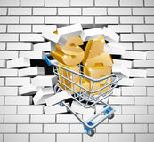 Sprzedaży wózek na zakupy upadania ściana Obrazy Royalty Free