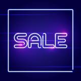Sprzedaż biali neonowi elektryczni listy Wektorowy reklama projekt Fotografia Stock