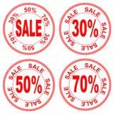Sprzedaż liczby dla rabata 30% 50% 70%, wektor Obrazy Royalty Free