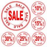 Sprzedaż liczby dla rabata 10%, 15%, 20%, 25%, 30%, wektor Obrazy Royalty Free