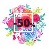 Sprzedaż plakat z procentu rabatem Zdjęcia Stock