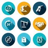Sprzedaż produkty obróbki ropy naftowej ikony set Zdjęcie Stock