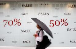 sprzedaż reklamowy sklep Obraz Stock