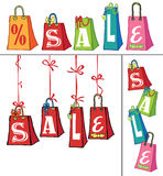 Sprzedaż szablon z prezent torbami Zdjęcia Stock