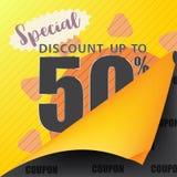 Sprzedaż szablonu talonowy marketingowy sztandar przy rabatem do 50% daleko Obraz Royalty Free