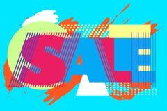 Sprzedaż sztandar na kolorowym tle ilustracja wektor