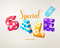 Sprzedaży 3D szyldowy kolorowy na bielu Obraz Royalty Free