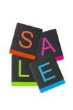 Sprzedaży etykietka od czarnego rzemiennego ochraniacza Zdjęcia Royalty Free