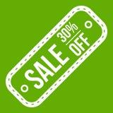 Sprzedaży etykietka 30 procentów z ikony zieleni Fotografia Royalty Free