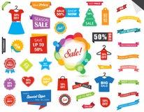 Sprzedaży etykietki etykietki majcheru sztandar Zdjęcia Stock