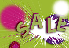 Sprzedaży plakat/ilustracja w zieleni, czerwieni i viole Fotografia Royalty Free