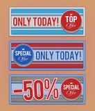Sprzedaży promoci sztandary ilustracji