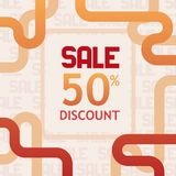 Sprzedaż 50% z dyskontowego sztandaru szablonu projekta royalty ilustracja