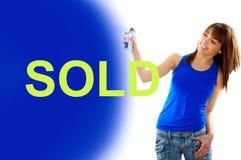 sprzedająca dziewczyna sprzedający writing Obrazy Stock