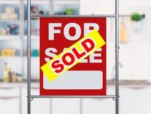Sprzedający domu znaka obwieszenie z metal drymbą Zdjęcia Stock