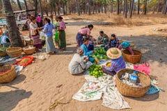 Sprzedawań warzywa przy miejscowego rynkiem Obrazy Stock