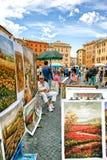 Sprzedawanie sztuka turyści w piazza Navona Rzym, Włochy Obrazy Royalty Free