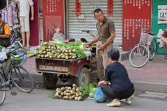 sprzedawca chińska ulica Zdjęcia Royalty Free
