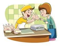 Sprzedawca kurczak ilustracja wektor