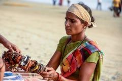 Sprzedawca na plażowym Goa fotografia royalty free
