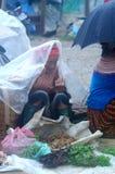 Sprzedawca przy puszki Cau rynkiem, Y Ty, Wietnam Zdjęcia Royalty Free