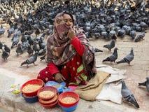 Sprzedawca trzyma chustę wokoło jej twarzy siedzącego sprzedawania gołębiej karmy ubierał w kolorowych ubraniach Zdjęcie Royalty Free