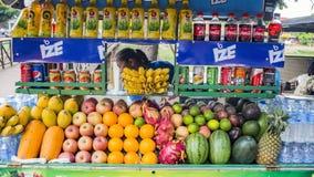 Sprzedawca z rozmaitością owoc obrazy royalty free