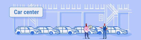 Sprzedawcy mężczyzna z nabywca zakupu sprzedaży lub wynajem pojęcia samochodów przedstawicielstwa handlowego centrum sali wy royalty ilustracja