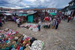 Sprzedawcy wypełniają up głównego plac Willa De Leyva Fotografia Royalty Free
