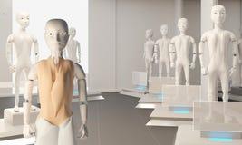 Sprzedawczyni w sklepie dla autonomicznych sztucznej inteligencji robotów 3d-illustration royalty ilustracja