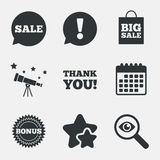 Sprzedaży mowy bąbla ikona Dziękuje ciebie symbol Zdjęcia Stock