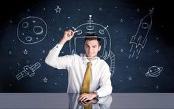 Sprzedaży osoby rysunkowy hełm i astronautyczna rakieta Zdjęcia Stock