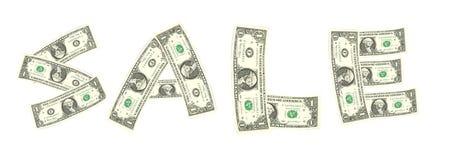 Sprzedaży słowo od dolarowego rachunku Obraz Royalty Free