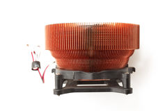 Spu cooler. Processor heat sink cooler fan on white background Royalty Free Stock Images