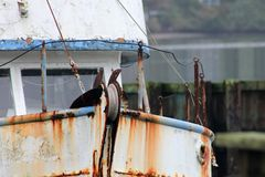 Spud Point Bodega Bay California. Spud Point rusty fishing boat Stock Images