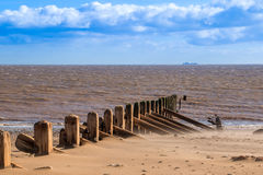 Spurn Head Point beech and North Sea. Shipping Royalty Free Stock Image