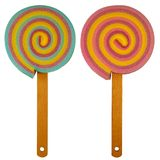 Spugne variopinte del dolce del Lollipop/con la maniglia di legno del bastone - mista fotografie stock libere da diritti