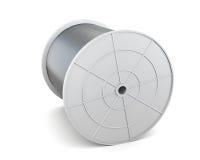 Spule mit dem Kabel lokalisiert auf weißem Hintergrund 3d übertragen image Lizenzfreie Stockfotos