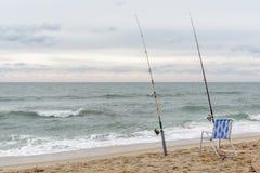 Spuma canna da pesca Fotografie Stock