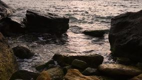 Spuma del mare alla costa stock footage