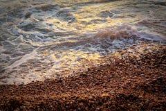 Spuma, spiaggia 3, Francia 2010 di Estrenc Fotografia Stock Libera da Diritti