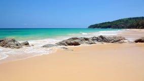 Spuma tropicale calma della spiaggia video d archivio