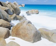 Spume along rocky coastline Stock Photography