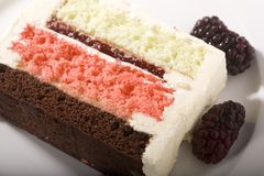Spumoni Cake and Blackberries Royalty Free Stock Photos