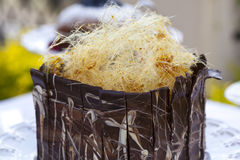 Spun sugar chocolate cake Royalty Free Stock Photos
